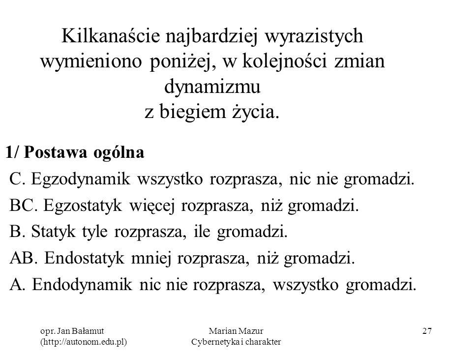 opr. Jan Bałamut (http://autonom.edu.pl) Marian Mazur Cybernetyka i charakter 27 Kilkanaście najbardziej wyrazistych wymieniono poniżej, w kolejności