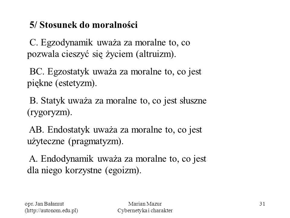 opr. Jan Bałamut (http://autonom.edu.pl) Marian Mazur Cybernetyka i charakter 31 5/ Stosunek do moralności C. Egzodynamik uważa za moralne to, co pozw