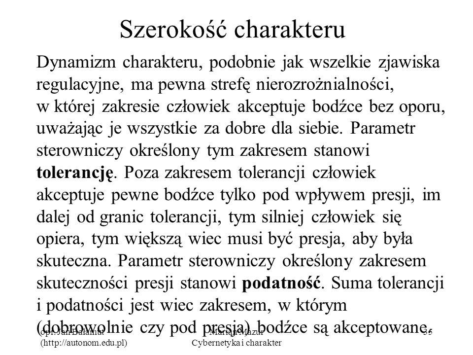 opr. Jan Bałamut (http://autonom.edu.pl) Marian Mazur Cybernetyka i charakter 35 Szerokość charakteru Dynamizm charakteru, podobnie jak wszelkie zjawi