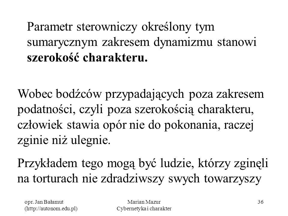 opr. Jan Bałamut (http://autonom.edu.pl) Marian Mazur Cybernetyka i charakter 36 Parametr sterowniczy określony tym sumarycznym zakresem dynamizmu sta