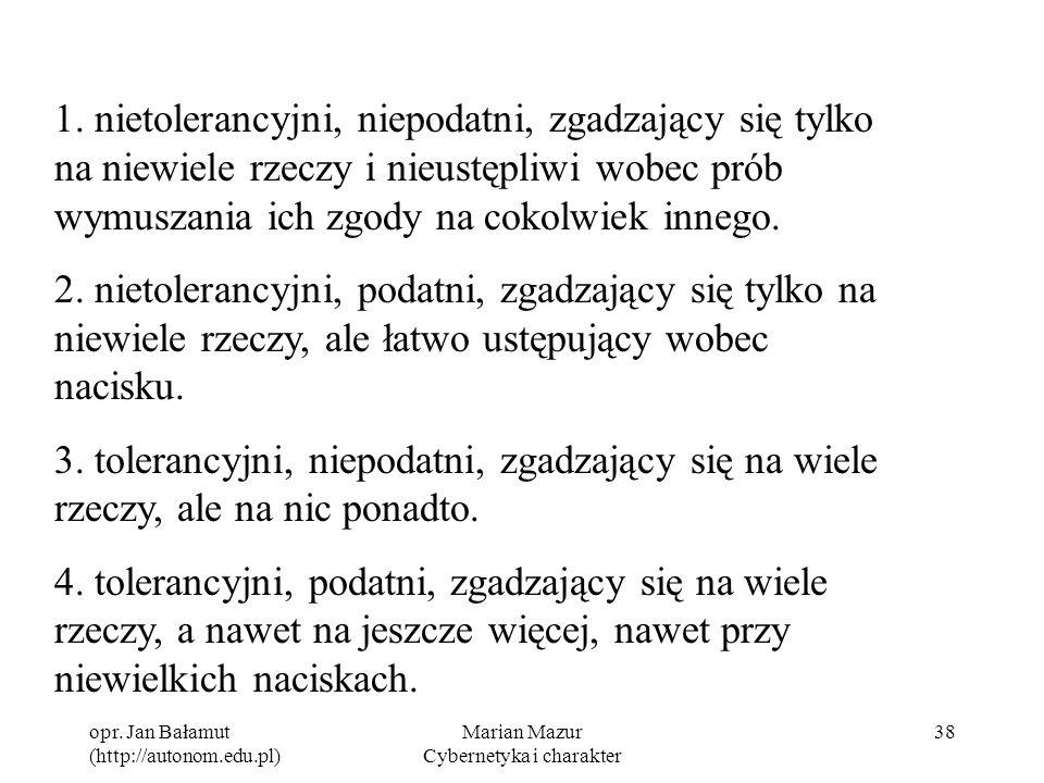 opr. Jan Bałamut (http://autonom.edu.pl) Marian Mazur Cybernetyka i charakter 38 1. nietolerancyjni, niepodatni, zgadzający się tylko na niewiele rzec