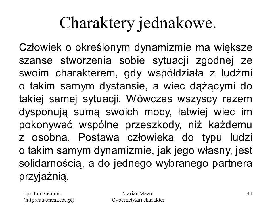 opr. Jan Bałamut (http://autonom.edu.pl) Marian Mazur Cybernetyka i charakter 41 Charaktery jednakowe. Człowiek o określonym dynamizmie ma większe sza