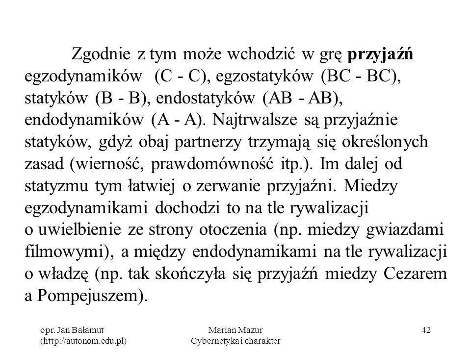 opr. Jan Bałamut (http://autonom.edu.pl) Marian Mazur Cybernetyka i charakter 42 Zgodnie z tym może wchodzić w grę przyjaźń egzodynamików (C - C), egz