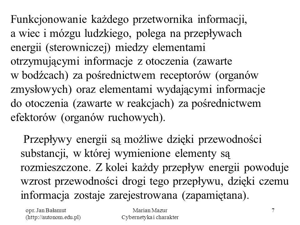 opr. Jan Bałamut (http://autonom.edu.pl) Marian Mazur Cybernetyka i charakter 7 Funkcjonowanie każdego przetwornika informacji, a wiec i mózgu ludzkie