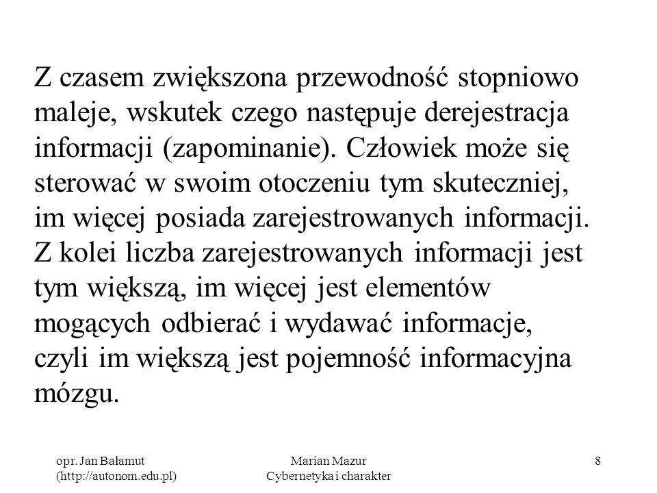 opr. Jan Bałamut (http://autonom.edu.pl) Marian Mazur Cybernetyka i charakter 8 Z czasem zwiększona przewodność stopniowo maleje, wskutek czego następ
