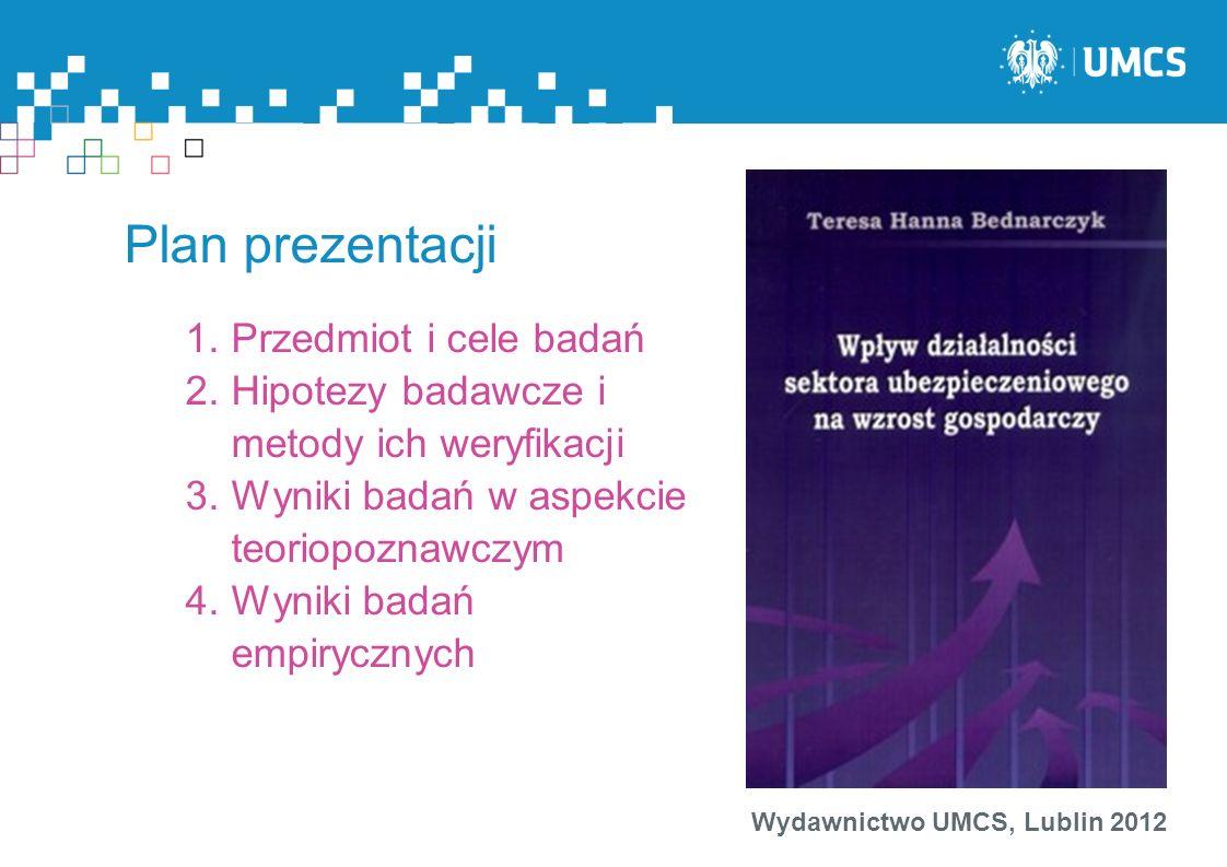 Wydawnictwo UMCS, Lublin 2012 Plan prezentacji 1.Przedmiot i cele badań 2.Hipotezy badawcze i metody ich weryfikacji 3.Wyniki badań w aspekcie teoriop