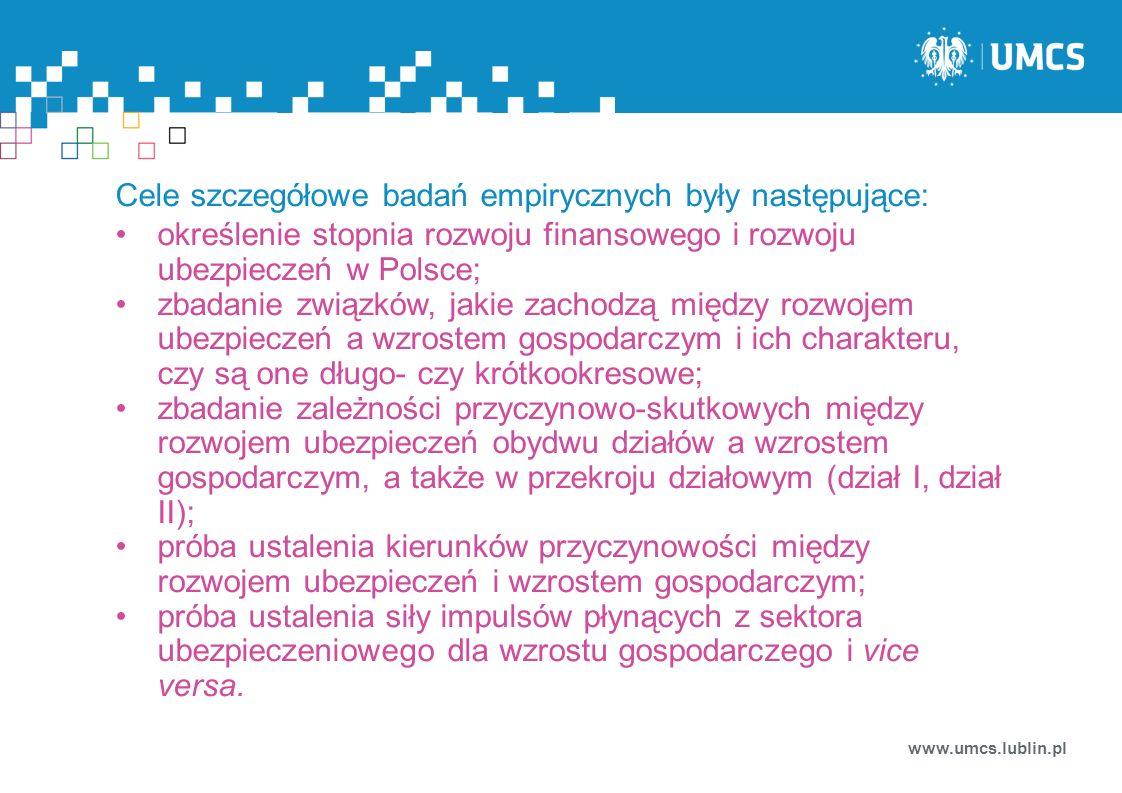 Cele szczegółowe badań empirycznych były następujące: określenie stopnia rozwoju finansowego i rozwoju ubezpieczeń w Polsce; zbadanie związków, jakie