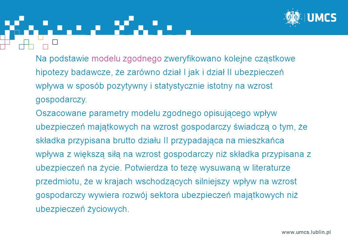 www.umcs.lublin.pl Na podstawie modelu zgodnego zweryfikowano kolejne cząstkowe hipotezy badawcze, że zarówno dział I jak i dział II ubezpieczeń wpływ