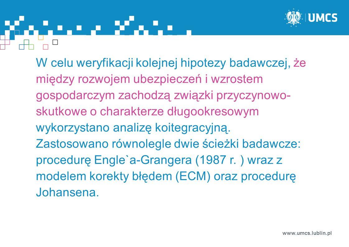www.umcs.lublin.pl W celu weryfikacji kolejnej hipotezy badawczej, że między rozwojem ubezpieczeń i wzrostem gospodarczym zachodzą związki przyczynowo