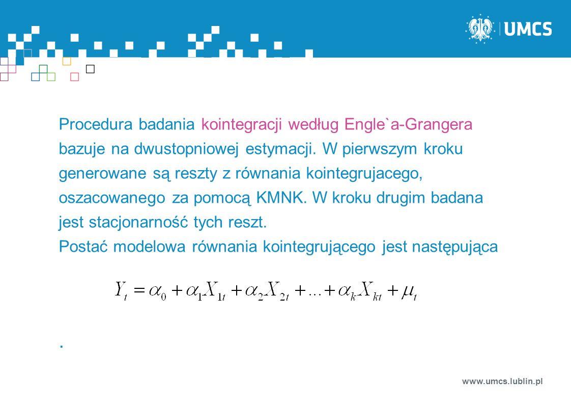 www.umcs.lublin.pl Procedura badania kointegracji według Engle`a-Grangera bazuje na dwustopniowej estymacji. W pierwszym kroku generowane są reszty z