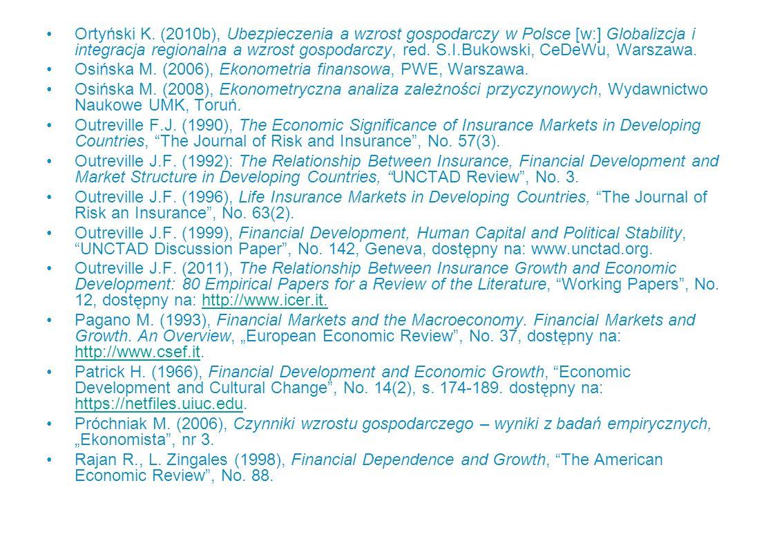 Ortyński K. (2010b), Ubezpieczenia a wzrost gospodarczy w Polsce [w:] Globalizcja i integracja regionalna a wzrost gospodarczy, red. S.I.Bukowski, CeD