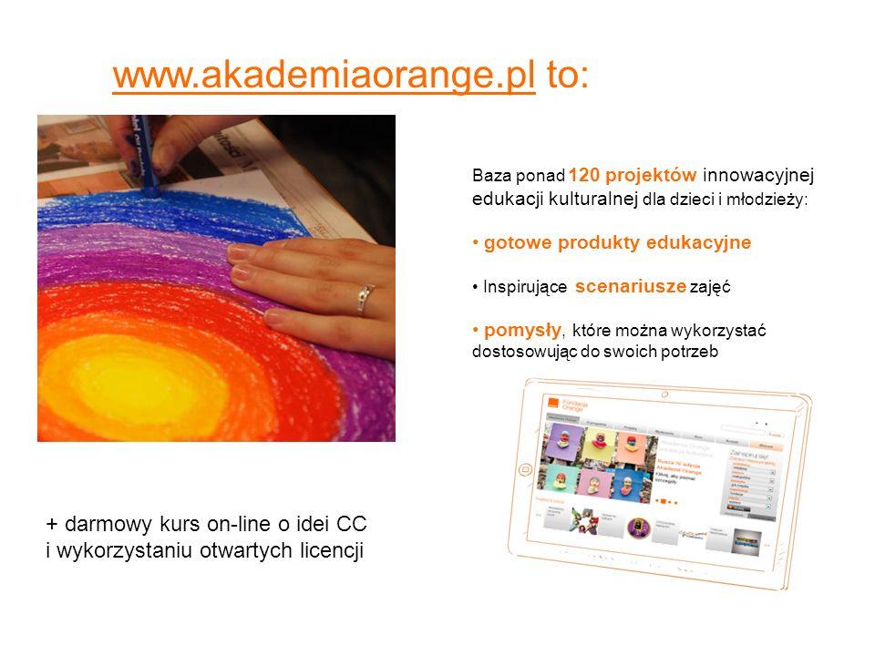 www.akademiaorange.pl to: Baza ponad 120 projektów innowacyjnej edukacji kulturalnej dla dzieci i młodzieży: gotowe produkty edukacyjne Inspirujące sc