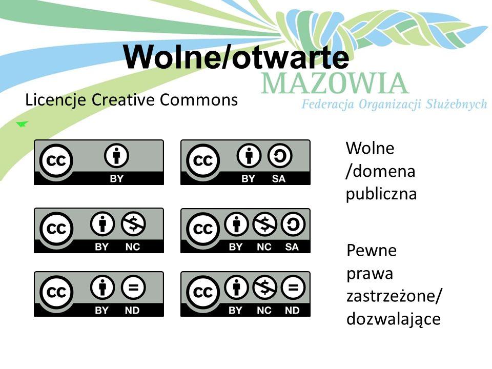 Wolne/otwarte Licencje Creative Commons Wolne /domena publiczna Pewne prawa zastrzeżone/ dozwalające