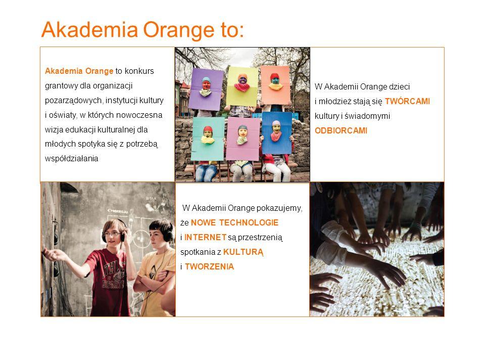 Akademia Orange to: W Akademii Orange pokazujemy, że NOWE TECHNOLOGIE i INTERNET są przestrzenią spotkania z KULTURĄ i TWORZENIA W Akademii Orange dzi