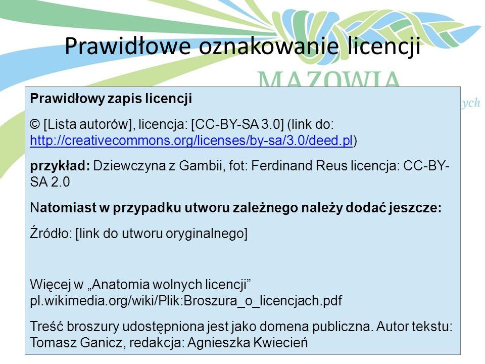 Prawidłowe oznakowanie licencji Prawidłowy zapis licencji © [Lista autorów], licencja: [CC-BY-SA 3.0] (link do: http://creativecommons.org/licenses/by