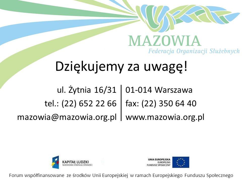 Dziękujemy za uwagę! ul. Żytnia 16/31 tel.: (22) 652 22 66 mazowia@mazowia.org.pl 01-014 Warszawa fax: (22) 350 64 40 www.mazowia.org.pl Forum współfi