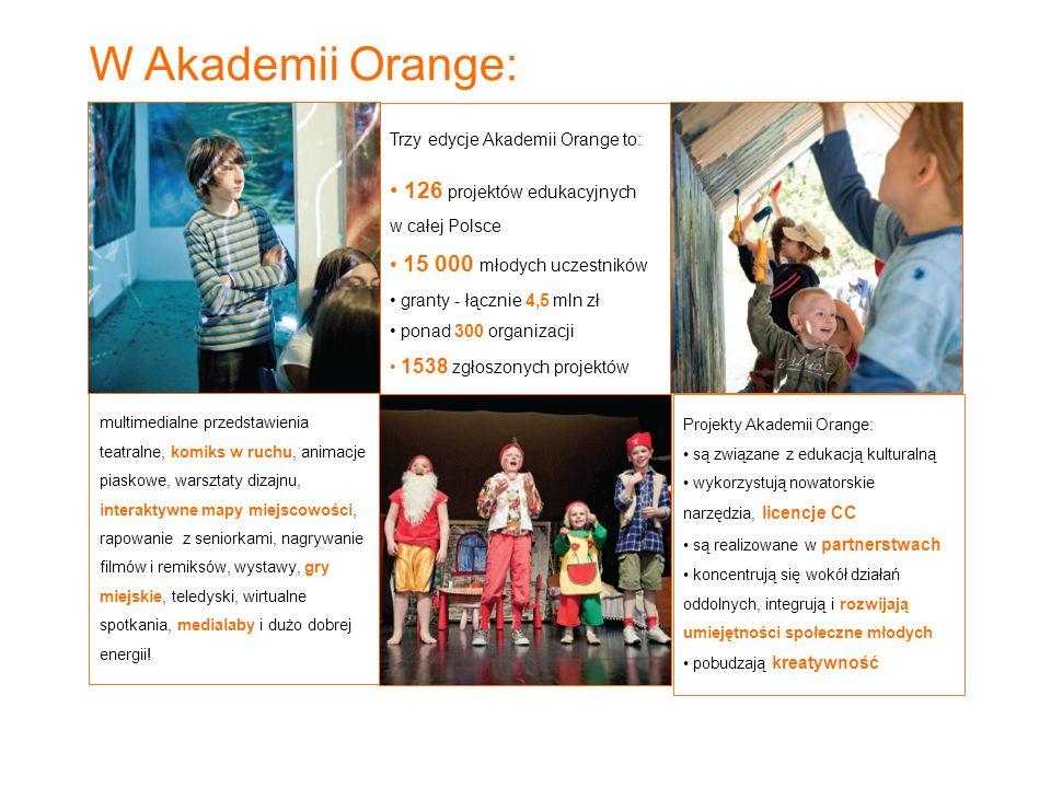 Trzy edycje Akademii Orange to: 126 projektów edukacyjnych w całej Polsce 15 000 młodych uczestników granty - łącznie 4,5 mln zł ponad 300 organizacji