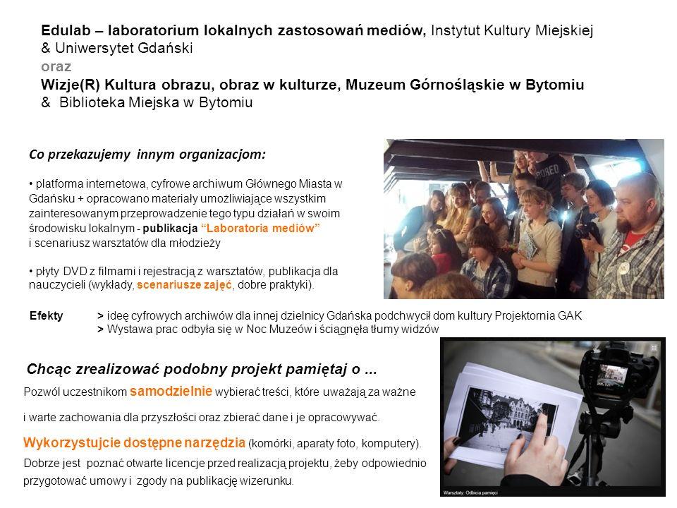 Edulab – laboratorium lokalnych zastosowań mediów, Instytut Kultury Miejskiej & Uniwersytet Gdański oraz Wizje(R) Kultura obrazu, obraz w kulturze, Mu