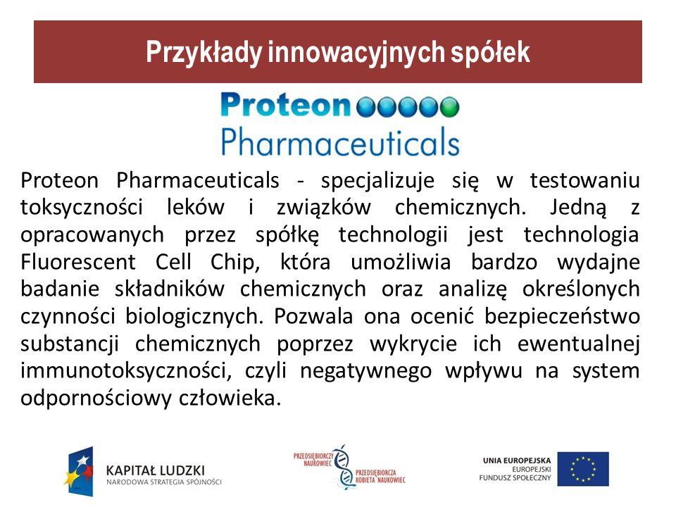 Przykłady innowacyjnych spółek Proteon Pharmaceuticals - specjalizuje się w testowaniu toksyczności leków i związków chemicznych.