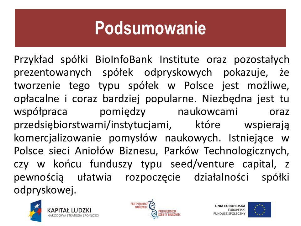 Podsumowanie Przykład spółki BioInfoBank Institute oraz pozostałych prezentowanych spółek odpryskowych pokazuje, że tworzenie tego typu spółek w Polsce jest możliwe, opłacalne i coraz bardziej popularne.