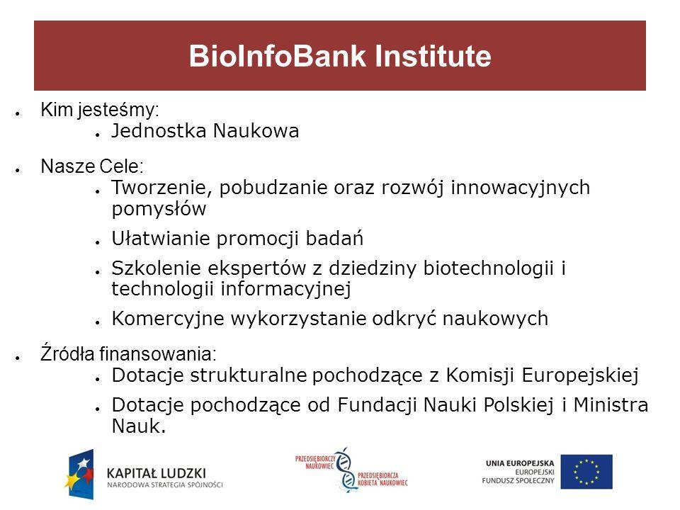 BioInfoBank Institute Kim jesteśmy: Jednostka Naukowa Nasze Cele: Tworzenie, pobudzanie oraz rozwój innowacyjnych pomysłów Ułatwianie promocji badań Szkolenie ekspertów z dziedziny biotechnologii i technologii informacyjnej Komercyjne wykorzystanie odkryć naukowych Źródła finansowania: Dotacje strukturalne pochodzące z Komisji Europejskiej Dotacje pochodzące od Fundacji Nauki Polskiej i Ministra Nauk.