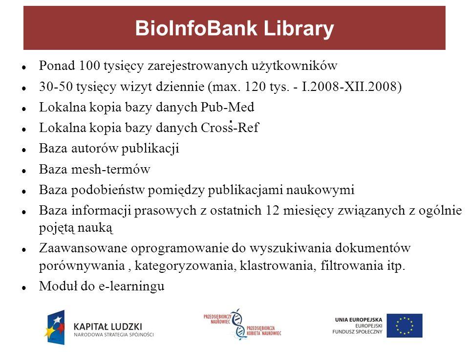 BioInfoBank Library Ponad 100 tysięcy zarejestrowanych użytkowników 30-50 tysięcy wizyt dziennie (max.