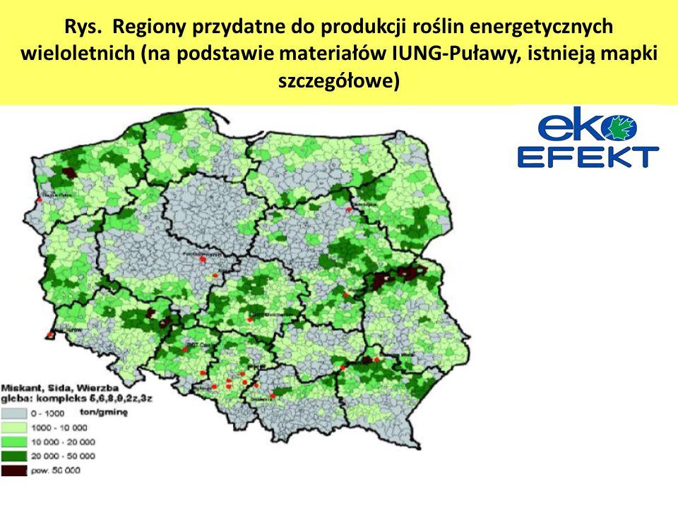 Rys. Regiony przydatne do produkcji roślin energetycznych wieloletnich (na podstawie materiałów IUNG-Puławy, istnieją mapki szczegółowe)