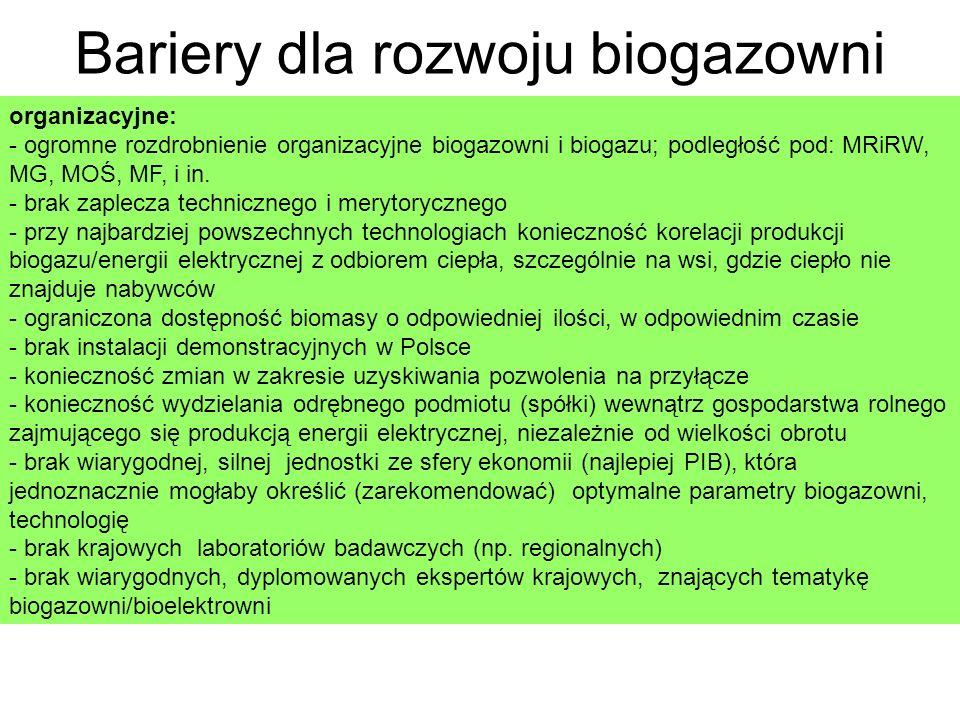 Bariery dla rozwoju biogazowni organizacyjne: - ogromne rozdrobnienie organizacyjne biogazowni i biogazu; podległość pod: MRiRW, MG, MOŚ, MF, i in.