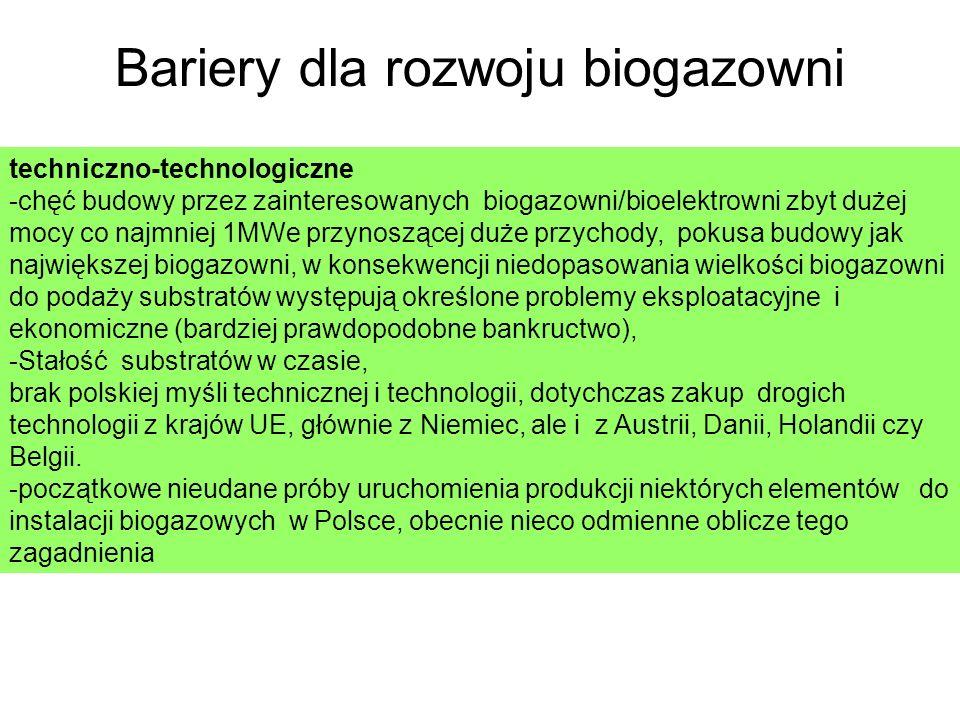 Bariery dla rozwoju biogazowni techniczno-technologiczne -chęć budowy przez zainteresowanych biogazowni/bioelektrowni zbyt dużej mocy co najmniej 1MWe przynoszącej duże przychody, pokusa budowy jak największej biogazowni, w konsekwencji niedopasowania wielkości biogazowni do podaży substratów występują określone problemy eksploatacyjne i ekonomiczne (bardziej prawdopodobne bankructwo), -Stałość substratów w czasie, brak polskiej myśli technicznej i technologii, dotychczas zakup drogich technologii z krajów UE, głównie z Niemiec, ale i z Austrii, Danii, Holandii czy Belgii.