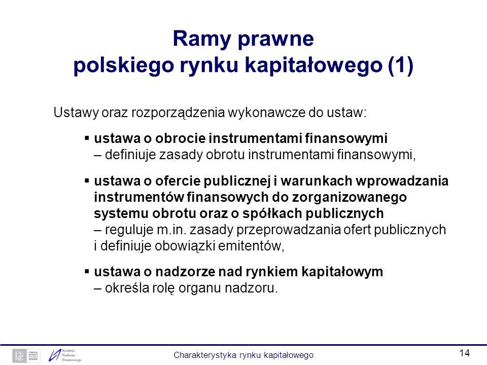 13 Podstawowe zasady funkcjonowania polskiego rynku kapitałowego Dematerializacja papierów wartościowych: usprawnienie procesu kupna/sprzedaży, mniejs