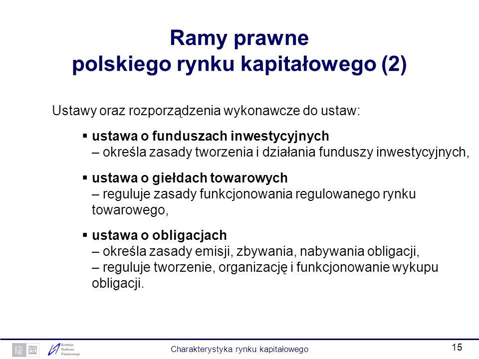 14 Ramy prawne polskiego rynku kapitałowego (1) Ustawy oraz rozporządzenia wykonawcze do ustaw: ustawa o obrocie instrumentami finansowymi – definiuje