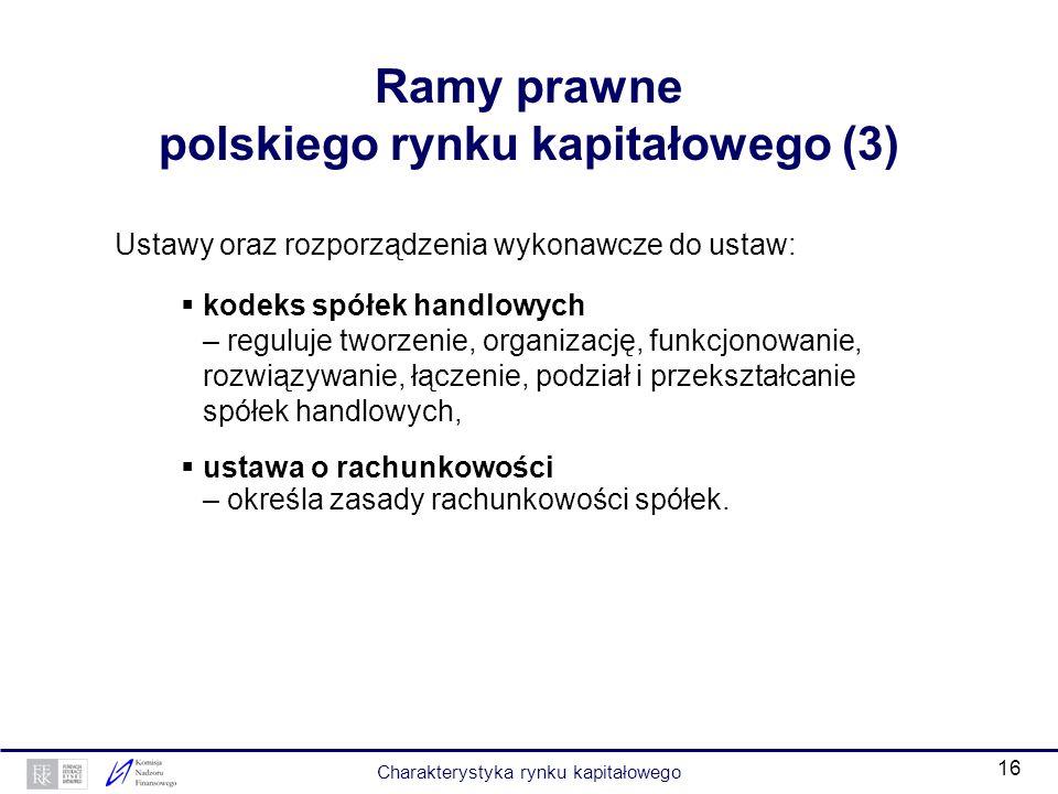 15 Ramy prawne polskiego rynku kapitałowego (2) Ustawy oraz rozporządzenia wykonawcze do ustaw: ustawa o funduszach inwestycyjnych – określa zasady tw