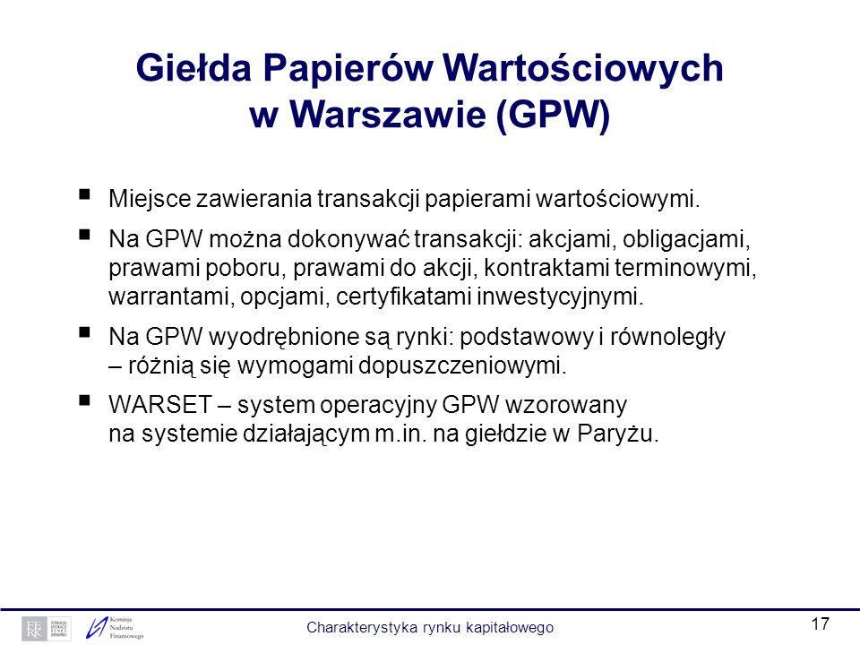 16 Ramy prawne polskiego rynku kapitałowego (3) Ustawy oraz rozporządzenia wykonawcze do ustaw: kodeks spółek handlowych – reguluje tworzenie, organiz