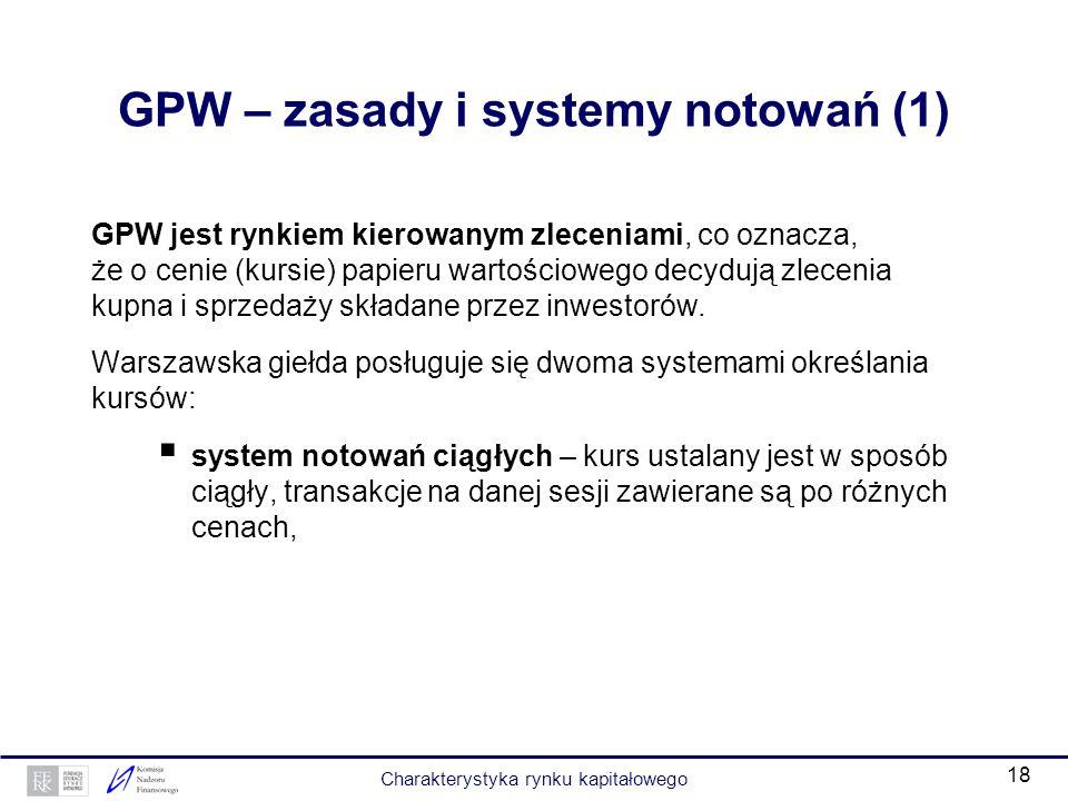 17 Giełda Papierów Wartościowych w Warszawie (GPW) Miejsce zawierania transakcji papierami wartościowymi. Na GPW można dokonywać transakcji: akcjami,