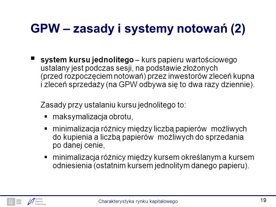 18 GPW – zasady i systemy notowań (1) GPW jest rynkiem kierowanym zleceniami, co oznacza, że o cenie (kursie) papieru wartościowego decydują zlecenia