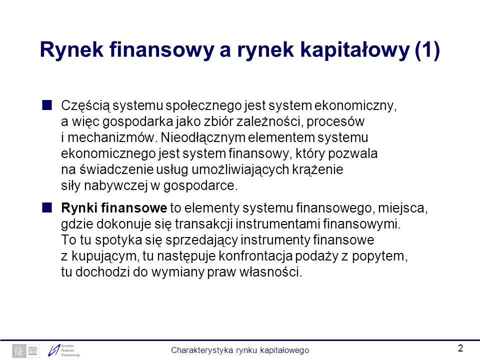 1 Charakterystyka rynku kapitałowego Opracowanie Piotr Koziński