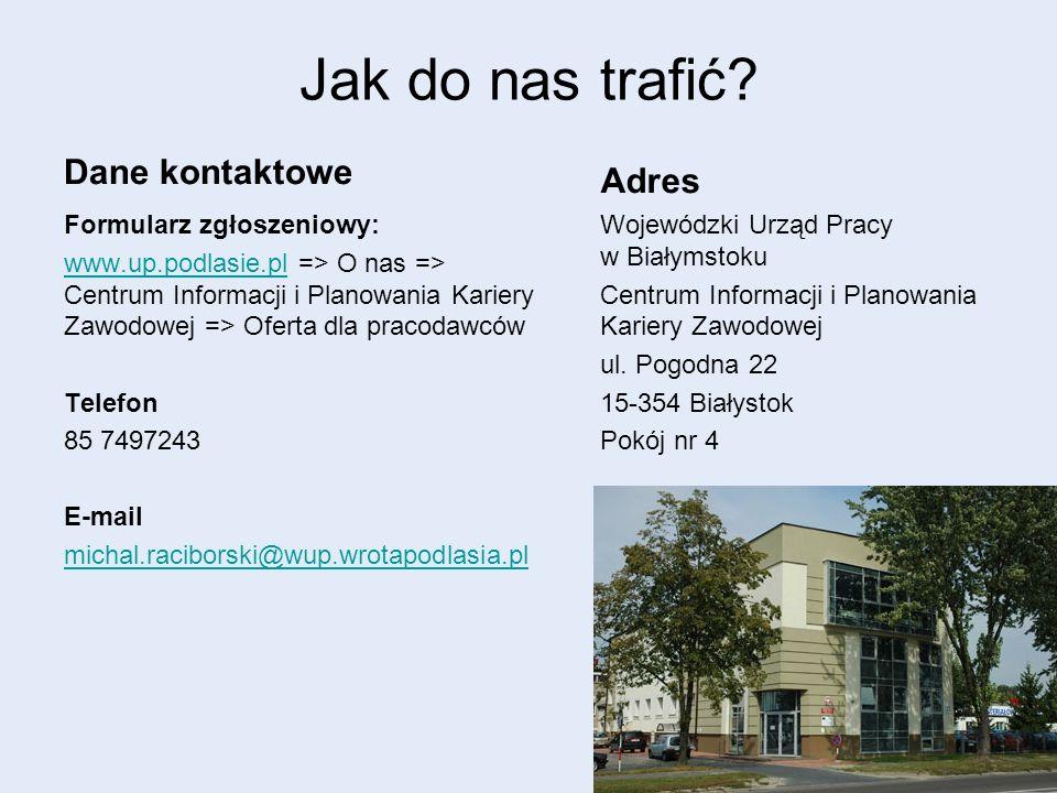 Jak do nas trafić? Dane kontaktowe Formularz zgłoszeniowy: www.up.podlasie.plwww.up.podlasie.pl => O nas => Centrum Informacji i Planowania Kariery Za