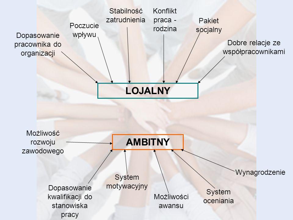AMBITNY LOJALNY Dopasowanie pracownika do organizacji Poczucie wpływu Możliwość rozwoju zawodowego Konflikt praca - rodzina Pakiet socjalny Stabilność