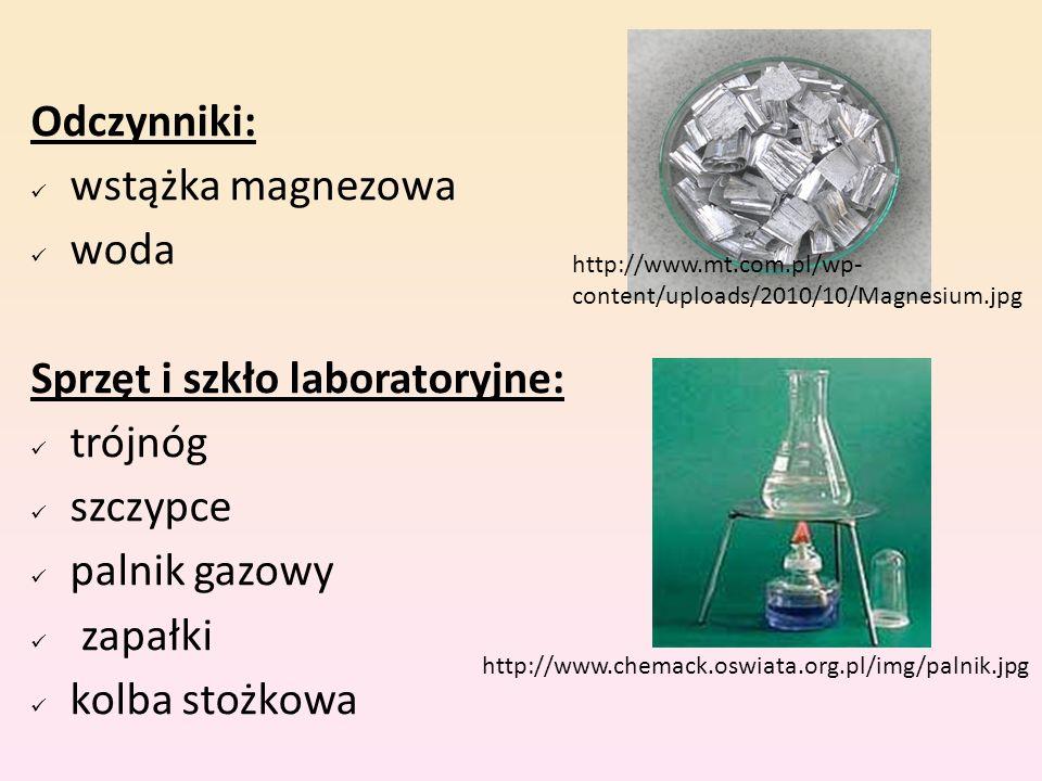 Odczynniki: wstążka magnezowa woda Sprzęt i szkło laboratoryjne: trójnóg szczypce palnik gazowy zapałki kolba stożkowa http://www.chemack.oswiata.org.