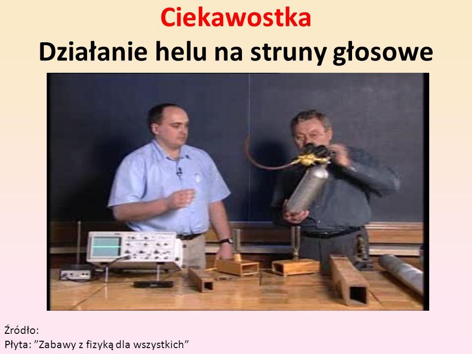 Ciekawostka Działanie helu na struny głosowe Źródło: Płyta: Zabawy z fizyką dla wszystkich