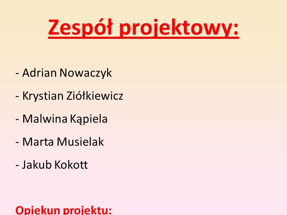 Zespół projektowy: - Adrian Nowaczyk - Krystian Ziółkiewicz - Malwina Kąpiela - Marta Musielak - Jakub Kokott Opiekun projektu: p. Irena Nowak