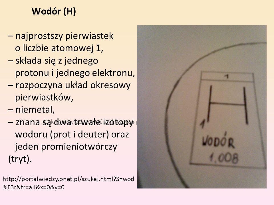 Kliknij, aby edytować styl wzorca podtytułu Wodór (H) – najprostszy pierwiastek o liczbie atomowej 1, – składa się z jednego protonu i jednego elektro