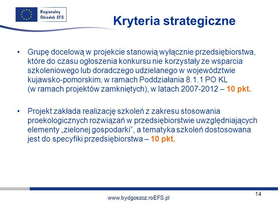 www.miasto.roEFS.pl Kryteria strategiczne Grupę docelową w projekcie stanowią wyłącznie przedsiębiorstwa, które do czasu ogłoszenia konkursu nie korzy