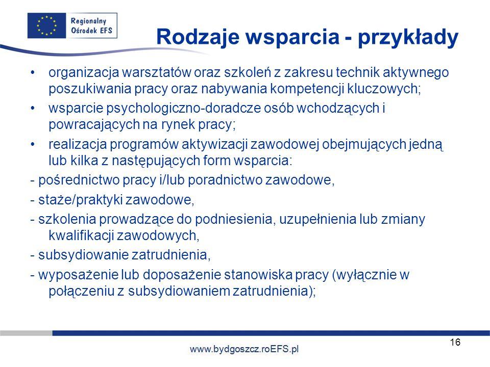 www.miasto.roEFS.pl Rodzaje wsparcia - przykłady organizacja warsztatów oraz szkoleń z zakresu technik aktywnego poszukiwania pracy oraz nabywania kom