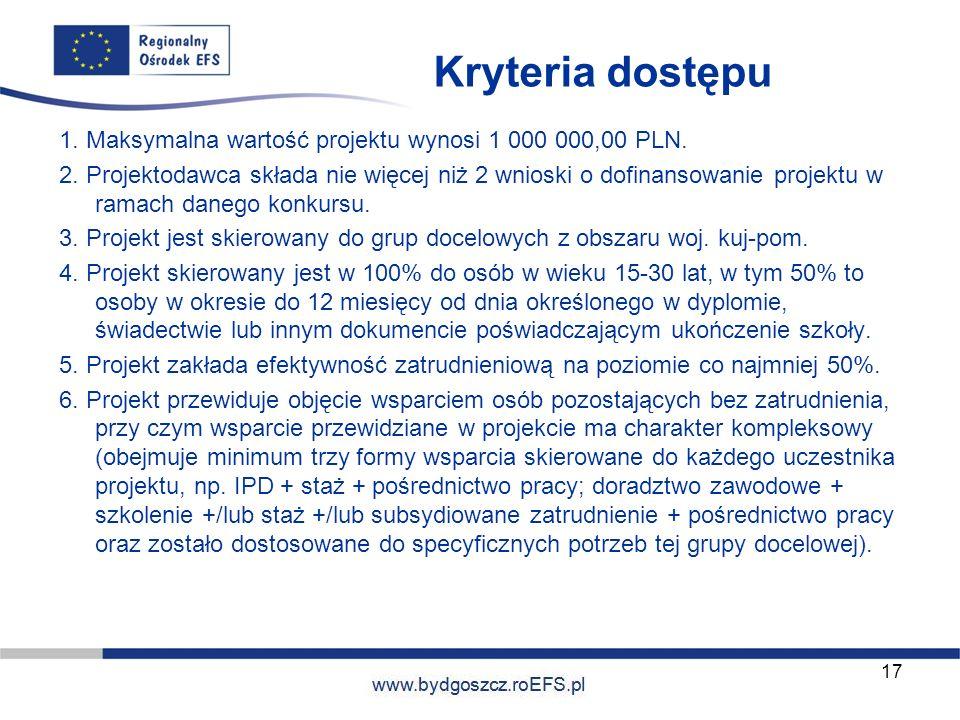 www.miasto.roEFS.pl Kryteria dostępu 1. Maksymalna wartość projektu wynosi 1 000 000,00 PLN. 2. Projektodawca składa nie więcej niż 2 wnioski o dofina