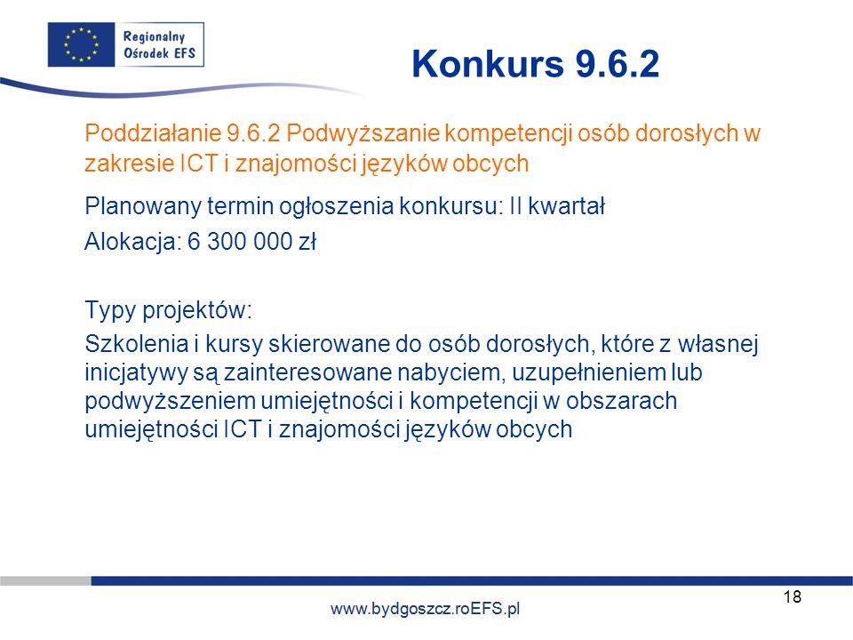 www.miasto.roEFS.pl Konkurs 9.6.2 Poddziałanie 9.6.2 Podwyższanie kompetencji osób dorosłych w zakresie ICT i znajomości języków obcych Planowany term