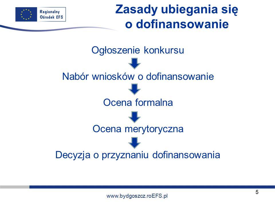 www.miasto.roEFS.pl Zasady ubiegania się o dofinansowanie Ogłoszenie konkursu Nabór wniosków o dofinansowanie Ocena formalna Ocena merytoryczna Decyzj