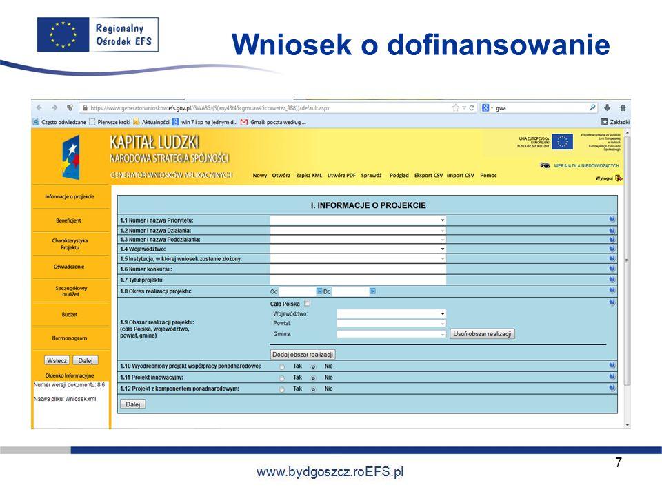 www.miasto.roEFS.pl 7 Wniosek o dofinansowanie