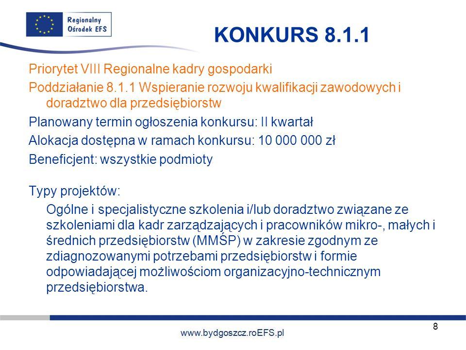 www.miasto.roEFS.pl KONKURS 8.1.1 Priorytet VIII Regionalne kadry gospodarki Poddziałanie 8.1.1 Wspieranie rozwoju kwalifikacji zawodowych i doradztwo