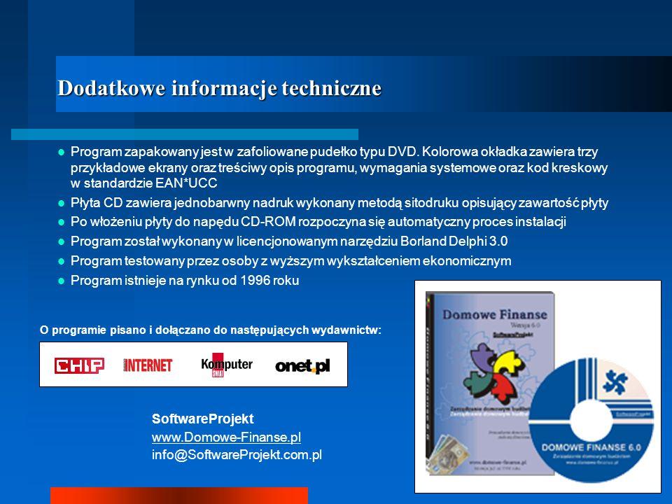 Dodatkowe informacje techniczne Program zapakowany jest w zafoliowane pudełko typu DVD. Kolorowa okładka zawiera trzy przykładowe ekrany oraz treściwy